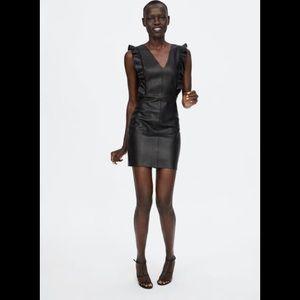 Zara Faux Leather Dress with riffles